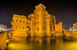 Castello Estense, a moated medieval castle Royalty Free Stock Photos