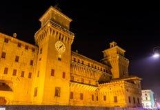 Castello Estense, a moated medieval castle Stock Photos