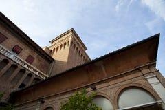 Castello Estense slott i Ferrara, Italien arkivfoto