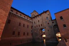 Castello Estense slott i Ferrara, Italien royaltyfri bild