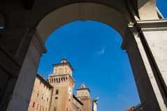 Castello Estense, St Michael Kasteel, Ferrara, Italië royalty-vrije stock afbeelding