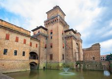 Castello Estense - medieval castle in the center of Ferrara, Ita Stock Photos