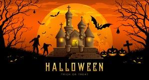 Castello felice dell'insegna di Halloween sul fondo arancio di notte della luna royalty illustrazione gratis
