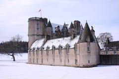 Castello Fraser nella neve Fotografia Stock