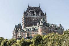 Castello Frontenac del Canada Québec la maggior parte del sito famoso del patrimonio mondiale dell'Unesco dell'attrazione turisti immagini stock libere da diritti
