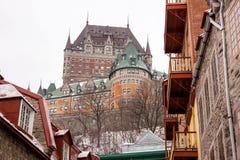 Castello Frontenac nell'inverno Fotografie Stock
