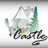 Castello gotico con un giardino Immagini Stock Libere da Diritti