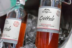 Kyiv Wine Festival by Good Wine in Ukraine. Castello Grottolo wine bottles closeup at Kyiv Wine Festival booth. 77 winemakers from around the world took part in stock images