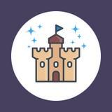 Castello, icona della fortezza nello stile lineare Fotografia Stock Libera da Diritti