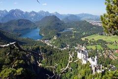 Castello il Neuschwanstein e hohenschwangau Fotografia Stock Libera da Diritti