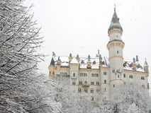Castello in inverno, Germania di Neuschwanstein Fotografia Stock