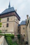 Castello in Karlstejn, repubblica Ceca dettaglio di architettura immagini stock libere da diritti