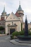 Castello magnifico Bojnice con la fontana nella priorità alta Fotografie Stock Libere da Diritti