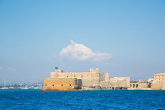 Castello Maniace at Siracuse in Sicilia: Ancient town Ortygia. Stock Photos