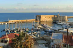 Castello a Mare, the Historic Venetian Fortress in the Morning Sunlight, Old Port of Heraklion, Crete Island Stock Images