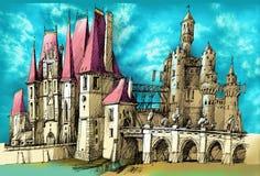 Castello medievale di fantasia Fotografia Stock