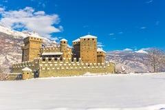 Castello medievale di Fenis nella valle d'Aosta, Italia Fotografia Stock Libera da Diritti