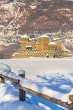 Castello medievale di Fenis nella valle d'Aosta, Italia Immagine Stock