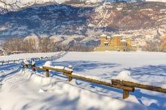 Castello medievale di Fenis nella valle d'Aosta, Italia Immagine Stock Libera da Diritti