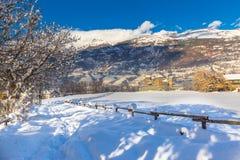 Castello medievale di Fenis nella valle d'Aosta, Italia Fotografie Stock Libere da Diritti