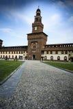Castello medievale di Sforzesco della fortezza di Milano Fotografie Stock Libere da Diritti