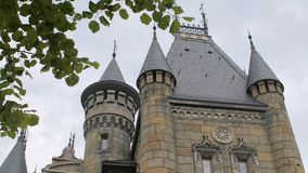 Castello medievale europeo, colpo tramite le foglie e rami degli alberi archivi video