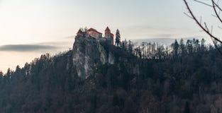 Castello medievale sul lago Bled in Slovenia nella sera - inverno fotografia stock