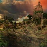 Castello medievale in una valle Fotografia Stock