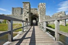 Castello medioevale Hampshire di Portchester Fotografie Stock