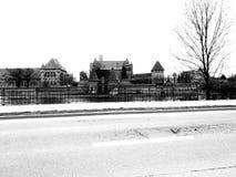 Castello medioevale Sguardo artistico in bianco e nero Immagine Stock