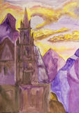 Castello in montagne, dipingenti Immagini Stock Libere da Diritti