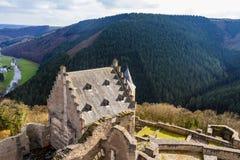 Castello nel giorno di primavera, Lussemburgo di Bourscheid Immagine Stock Libera da Diritti