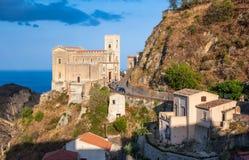 Castello Normanno w Forza d'Agro sicily Obraz Stock