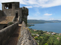 Castello Orsini-Odescalchi in Bracciano. Lago di Bracciano view from the castle wall of Castello Orsini-Odescalchi Royalty Free Stock Photography