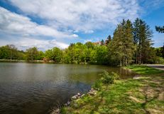 Castello, parco e stagno di Konopiste, a primavera, Benesov, repubblica Ceca fotografie stock