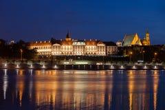 Castello reale in Città Vecchia di Varsavia alla notte Fotografia Stock
