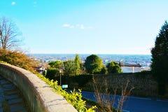 Castello, road and panoramic, Conegliano, Treviso. Castello, medieval walls and panoramic view in Conegliano Veneto, Treviso, Italy, Europe Stock Photos