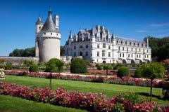 Castello romantico di Chenonceau di vista fotografia stock