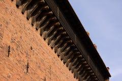 Castello rosso di Olsztyn del tetto Fotografie Stock