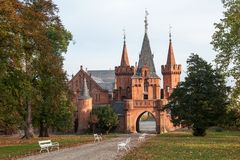 Castello rosso in Hradec nad Moravici, repubblica Ceca Fotografia Stock