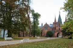 Castello rosso in Hradec nad Moravici, repubblica Ceca Fotografia Stock Libera da Diritti