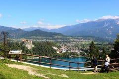 Castello sanguinato da Straza & da x28; hill& x29; punto di vista Slovenia Immagine Stock