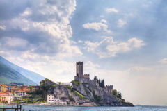 The Castello Scaligero, the castle of Malcesine at the Lake Garda in Italy Royalty Free Stock Images