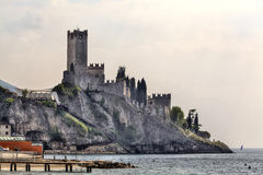 The Castello Scaligero, the castle of Malcesine at the Lake Garda in Italy, Stock Image