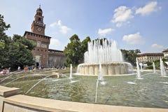 Castello Sforzesco在米兰,意大利 库存图片