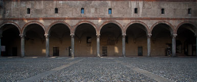 Castello Sforzesco Arches in Milan Royalty Free Stock Photo