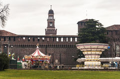 Castello Sforzesco and carousels Royalty Free Stock Photography