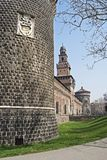 Castello Sforzesco foreshortening Stock Photography