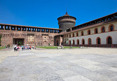 Castello Sforzesco inside Royalty Free Stock Photo