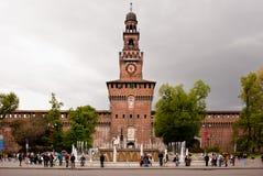 Castello Sforzesco, limite famoso a Milano Immagini Stock